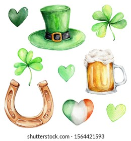 Set for st. Patrick's day with green hat, green hearts, irish  flag, beer, shamrock and horseshoe; watercolor hand draw illustration; ; with white isolated background