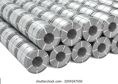 Set of stainless steel coils. Rolls of steel sheet, 3D rendering isolated on white background