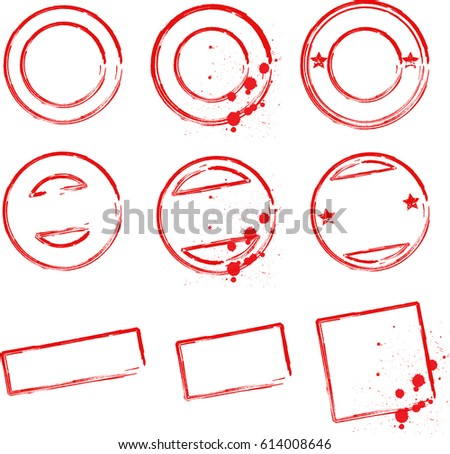 set stamp seal templates red icons stock illustration 614008646