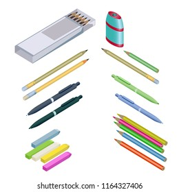 Set of stationery for School. Assortment of office supplies in 3D isometric style. Raster version.