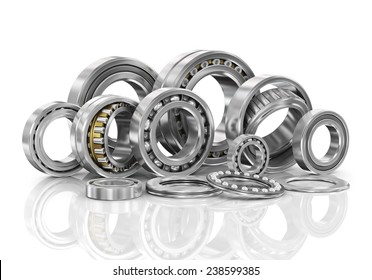 Set of steel ball bearings in closeup.