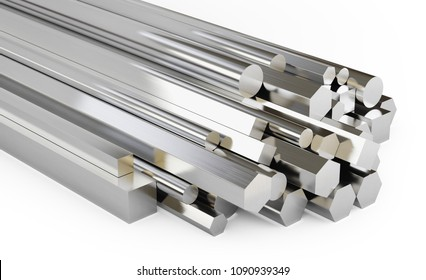 Set of steel rods of different types. Round, square, hexagonal rolled metal products. Isolated on white background, clipping path included. 3d illustration.