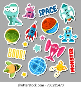Set of stickers with space objects and monsters. Cartoon illustration for children. Sticker monster and space ship