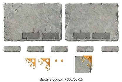 Set of stone fantasy interface elements. Panel backgrounds with holders for the buttons. Metal ornaments for the corners.