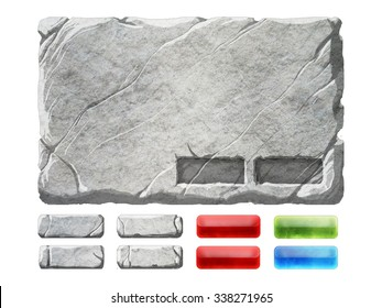 A set of stone and gem realistic interface elements. Panel background with button holders, four stone buttons, two red gem buttons, one green and one blue buttons.