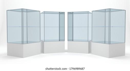 Set of store retail exhibition showcase glasses 3d rendering illustration