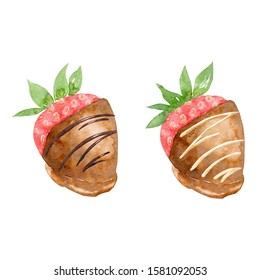 Set of strawberries covered  in chocolate isolated on white. Watercolor illustration of dessert with icing. Hand drawn confection for menu, recipe, label, packaging design. Gourmet treat for party.