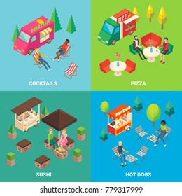 Set of street food concept square posters or banners with cocktail and pizza trucks, sushi and hot dog carts. Fast food mobile shops and buyers isometric icons.