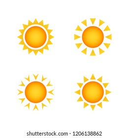 Set of stylized images of the sun. design element of the summer heat.