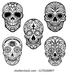 Set of  sugar skull isolated on white background. Day of the dead. Design element for poster, card, banner, print.