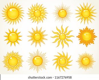 Set of summer bright shining sun symbols in the sky, isolated over white. Icon collection.