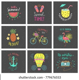 Set of Summer hand-lettering labels. Tropical emblems. Travel postcards with quotes. Designs for t-shirt and poster.
