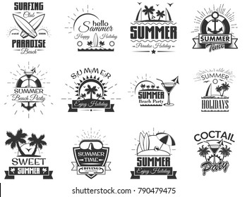 Set of summer season labels in vintage style. Design elements, icons, logo, emblems and badges isolated on white background. Summer camp, beach holidays, tropical sea vacations.