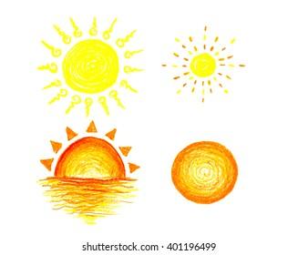 set of sun icon, hand draw