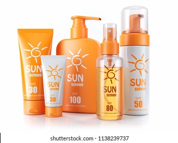 Set of sunscreens. Cream, oil and spray. 3d render. Isolated on white background
