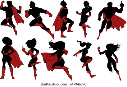 Set of superhero characters in black silhouettes