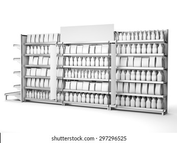 set of supermarket shelves with blank products and banners