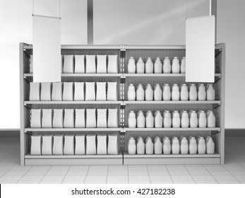 set of supermarket shelves with blank products and hangers