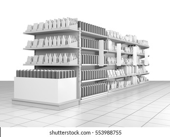 set of supermarket shelves with blank products and shelf-stopper. 3D rendering