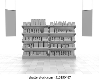 set of supermarket shelves with products and hangers. 3D rendering