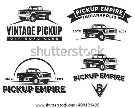 Set Suv Pickup Car Emblems Labels Stock Illustration 408193498