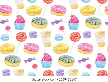 Set of sweets with donuts, candy, capcake, lollipop, macaroons and cup of coffee on white background. Colorful watercolor pattern