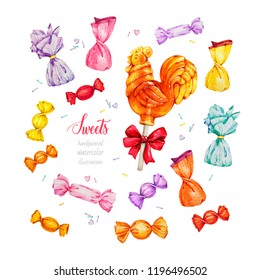 A set of sweets. Russian rooster, cockerel on a stick lollipop. Caramel. Watercolor illustrations.