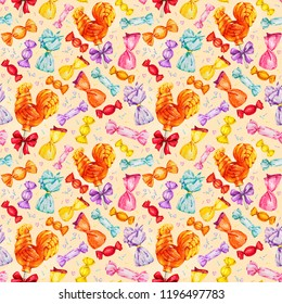 A set of sweets. Russian rooster, cockerel on a stick lollipop. Caramel. Watercolor illustrations. Seamless pattern
