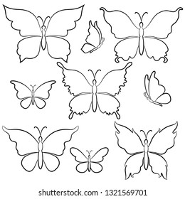 Set Symbolical Butterflies Black Contours Isolated on White Background.