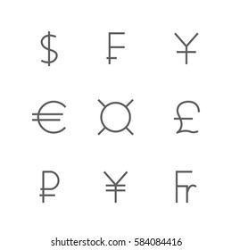 Set  symbols of the leading world  currencies of thin lines,  illustration.