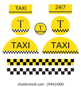 Set of Taxi objects and symbols.