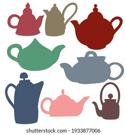 a set of teapots of different shapes