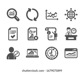 Set of Technology icons, such as 48 hours, Graph laptop, International globe, Report, Data analysis, Approved checklist, Refresh, Diagram chart, Manual doc, Website statistics, Edit user.