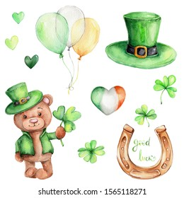 Set with teddy bear in green hat, shamrock, horseshoe, balloons, clover, green hearts; watercolor hand draw illustration; can be used for St.Parick's day; with white isolated background