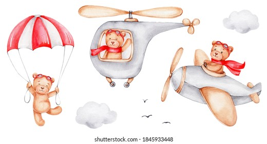 Set with teddy bears flying in a helicopter, in a airplane and parachute; watercolor hand draw illustration; can be used for kid posters or postcards; with white isolated background