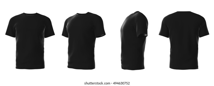 Set of template male's t-shirts from different angles isolated on white background. 3d render.