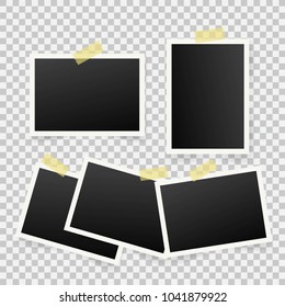 Set of template photo frames with shadow on transparent background.  illustration for your photos or memories. Scrapbook design.