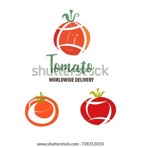 set template tomato world delivery logo stock illustration 728313010
