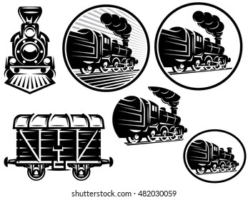 set of templates with retro locomotive, wagon, vintage train, logotype, illustration to topic railroad