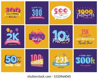 Set of Thank You Followers Labels. Beautiful Cards with Lettering, Like us and Follow us icons.  Logos for Social Networks. 10K, 25K, 50K,100K symbols and more.
