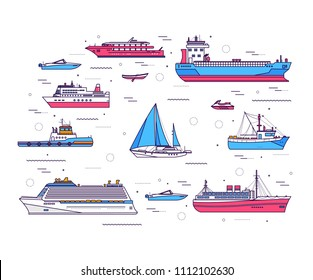 Set of thin line ship illustration. Ship thin line icons background concept