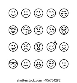 Set of thin line smile emoticons isolated on a white background