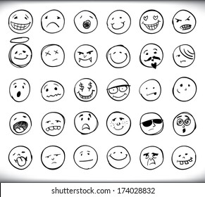 Set of thirty hand drawn emoticons or smileys each with a different facial expression and emotion, sketched outline on white - raster version of vector illustration