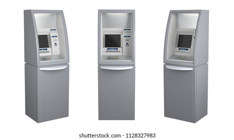 Set of three atm machines in different views - front and sides, isolated on white. 3D illustration