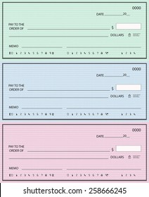 Set of three blank bank checks in different colors