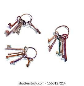 set of three bundles of watercolor old rusty keys on a metal ring