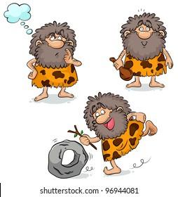 set of three cartoon cavemen (raster version)