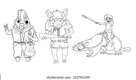 Set of three characters (rockstar starfish with guitar, ram with a bat and girl on a rat with pen in hand). line art illustration for coloring book for children on white background.