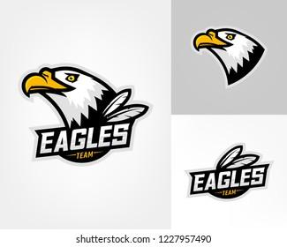 Set of three eagle logos for sport team. Emblem, team mascot, blazon, t-shirt print, label, logotype template.