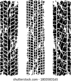 Set of three grunge tire tracks silhouettes